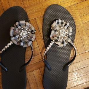 Other - Handmade  Swarovski crystal flip flops  never worn